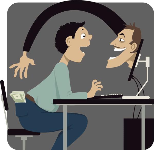 Comic: Ein Online-Anbieter greift aus dem Bildschirm heraus direkt in Richtung der Hosentasche eines Users, aus der das Geld heraus schaut.