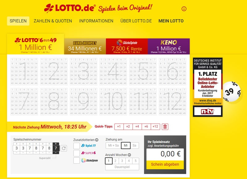 Lotto.de Webseite