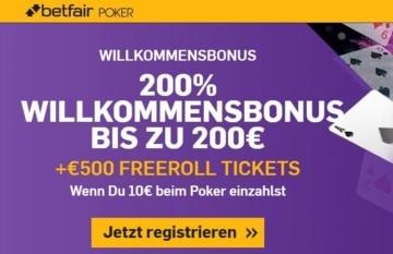 Betfair Poker Bonus für Neukunden