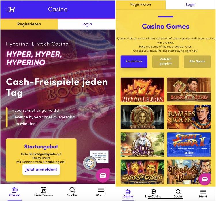Hyperino Casino im Test: sehr gute mobile App