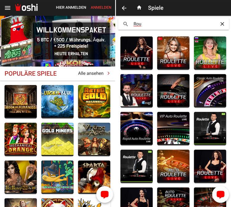 Die Oshi Casino App verfügt über alle Funktionen der Desktop Version