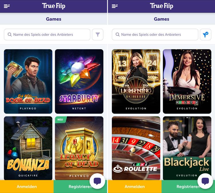 TrueFlip Casino App: übersichtlich und benutzerfreundlich