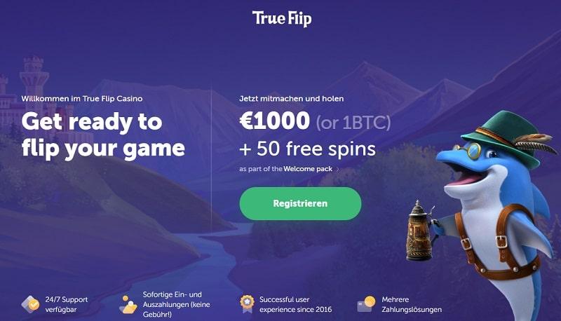 Trueflip Casino Bonus Screenshot