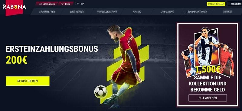 Rabona Sportwetten Bonus für Neukunden