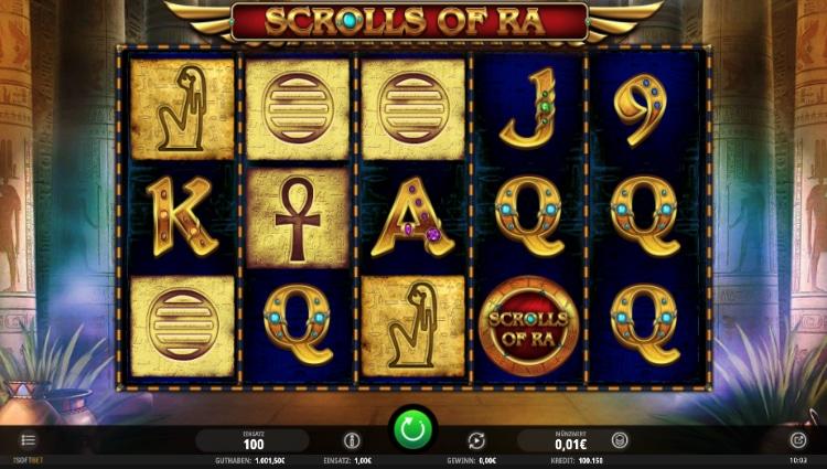 Scrolls of Ra nutzt Hieroglyphen und Kartensymbole.