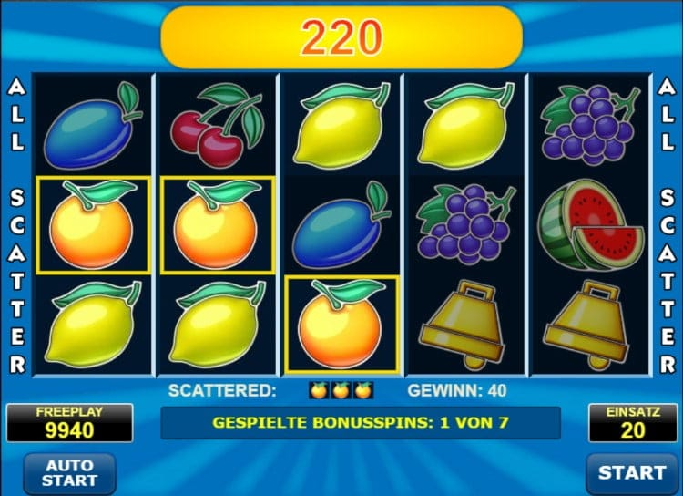Gewinn beim All Ways Fruits Slot