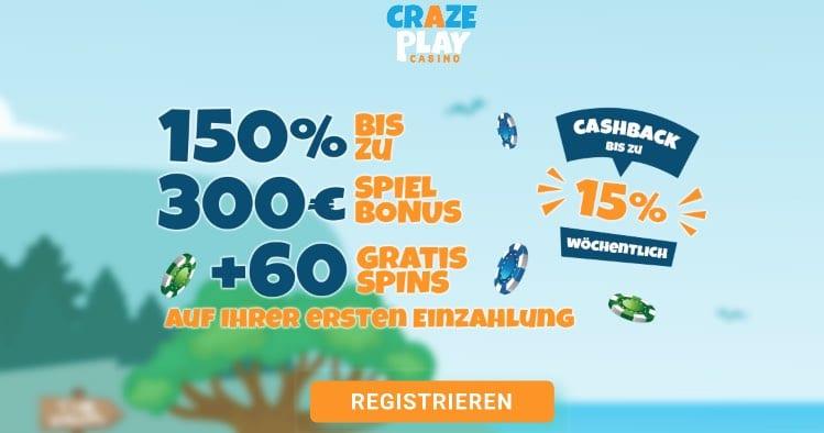 Crazeplay Casino Neukundenbonus
