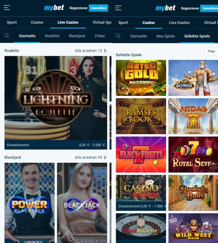 Web App mybet Casino
