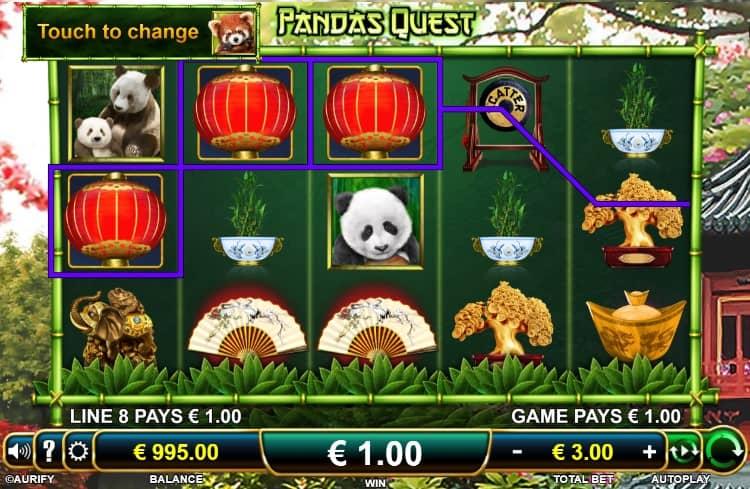 Gewinn im Pandas Quest Slot