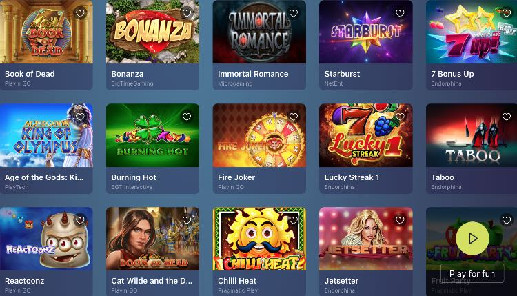 Casinoin Spieleangebot von sicheren Herstellern