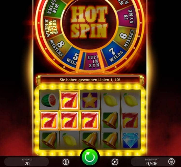Der Slot Hot Spin besitzt 20 Gewinnlinien