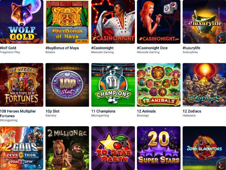 20Bet Casino Spieleangebot