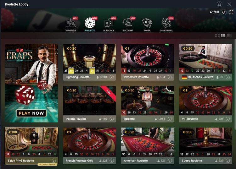 Vulkan Vegas Live Roulette Lobby