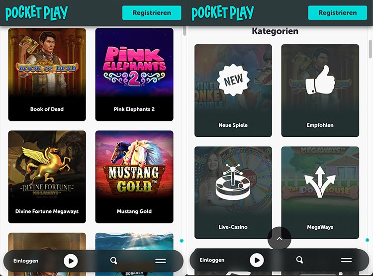 Pocket Play mobiles Casino