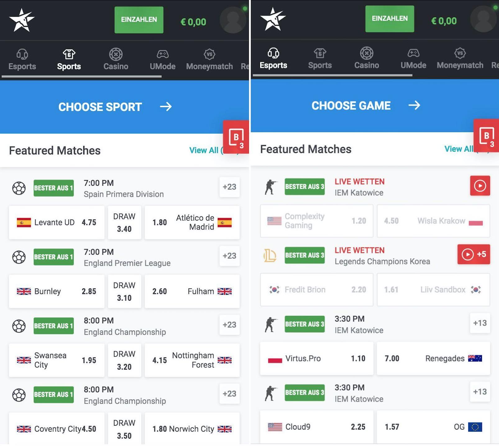 Unikrn Sportwetten App