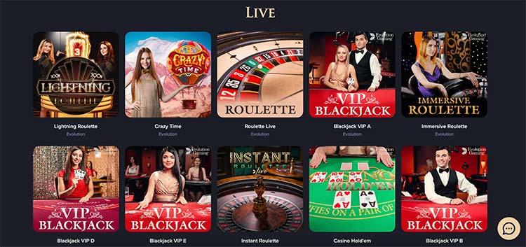 Live Casino Auswahl bei CasinoRex