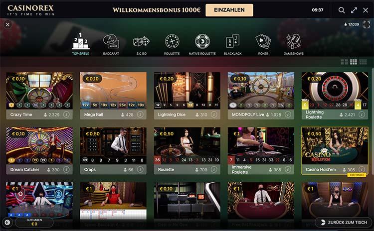 Live Casino Lobby von Evolution Gaming - bei CasinoRex.