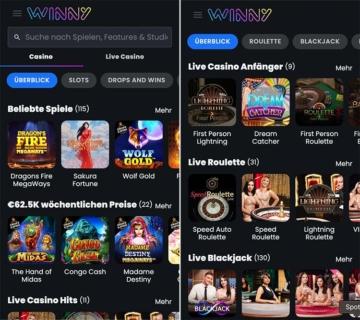 Mobile Winny Casino Screenshot