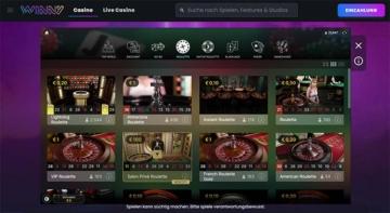 Winny Casino Live Lobby von Evolution Gaming 2