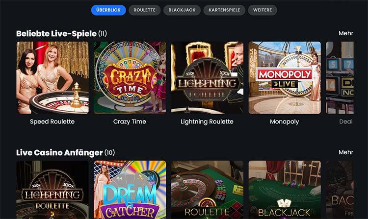 Winny Casino Live Lobby von Evolution Gaming