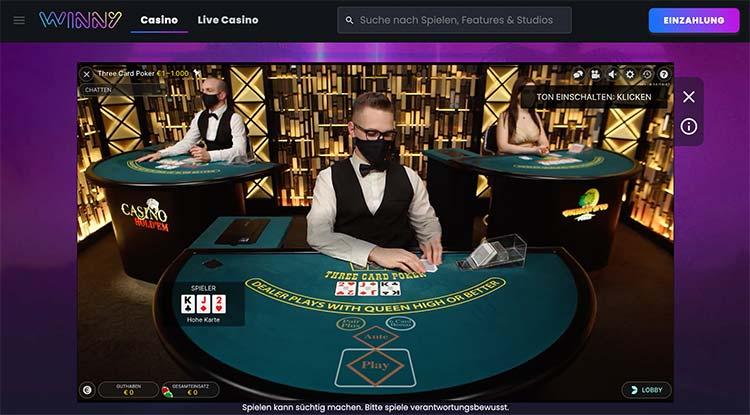 Winny Casino Live Lobby von Evolution Gaming 3