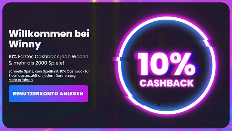 Winny Casino Cashback Bonus