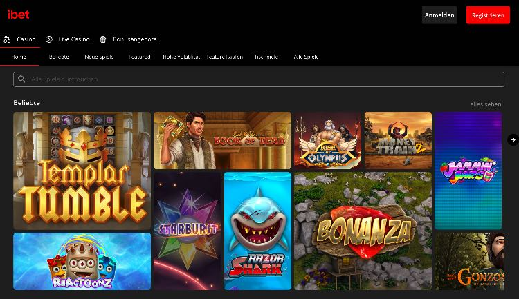 iBet Casino Webseite