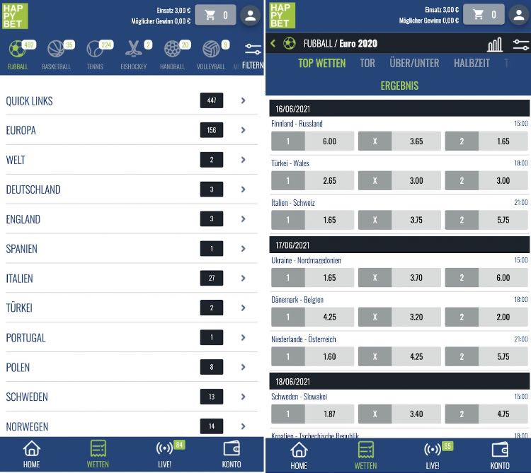 HappyBet Sportwetten App
