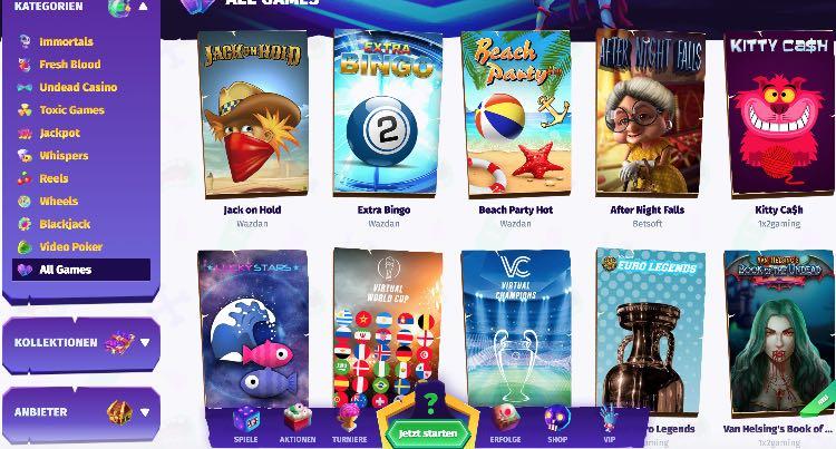 Casombie Casino Spieleangebot